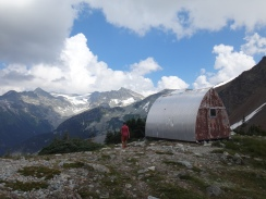 the current and original Russet Lake hut